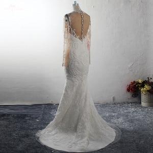 Image 4 - RSW1578 Bridal Dress Long Sleeves High Necklin Illusion Back Pearls Beaded Mermaid Wedding Gowns