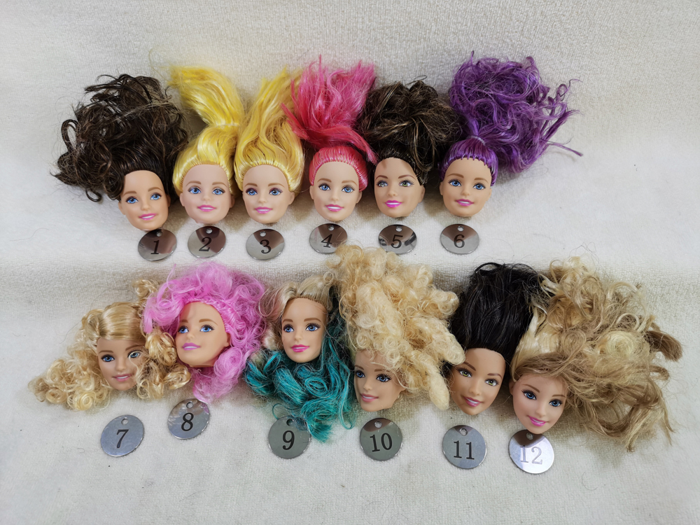 B20-6 Original Foreign Trade European Beauty1/6 OOAK NUDE Doll Head Mussed Hair For DIY Soft PVC Head With Fitting  90%NEW