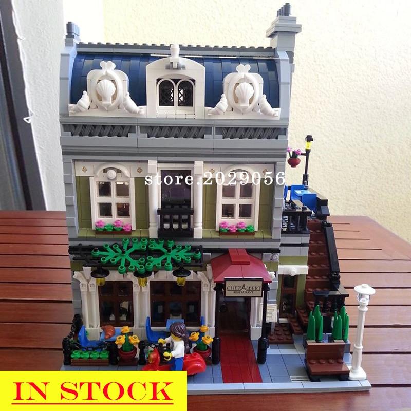 IN STOCK 15010 Street View Creator Series Parisian Restaurant Apartment Building Blocks 2418Pcs Compatible With 10243 Bela