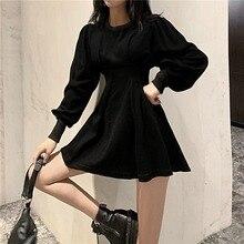 QWEEK Black Mini Dress 2021 Spring Fashion Korean Style Gothic Goth Wrap Long Sleeve Pleated Dress Casual Wrap Streetwear Women