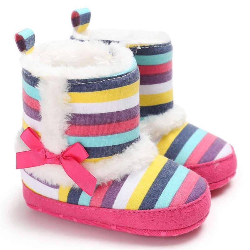 New Baby Shoes Socks Boy Girl Booties Winter Velvet Bow Leopard Print Indoor Booties Toddler Prewalkers Soft  Newborn Crib Shoes
