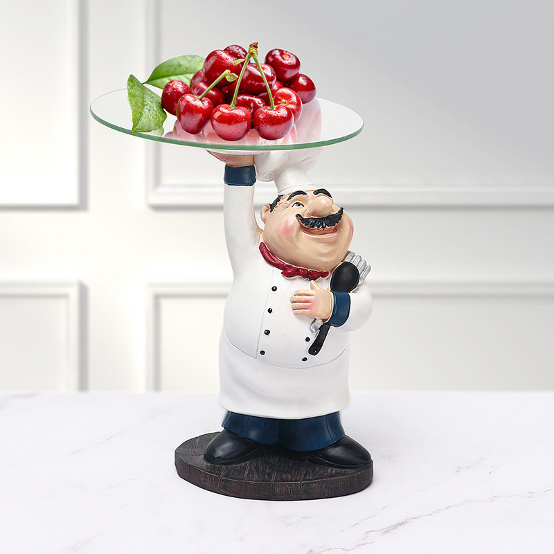 Resin Hand Lifting Tray Chef Figurines Creative Living Room Decrations Fruit Storage Restaurant Ornaments For Home R4820