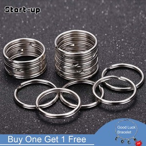 20pcs/lot Stainless Steel Key Ring Connector Findings for DIY Keychain Making 25/30mm Douple Loop Circle Bezel Accessories