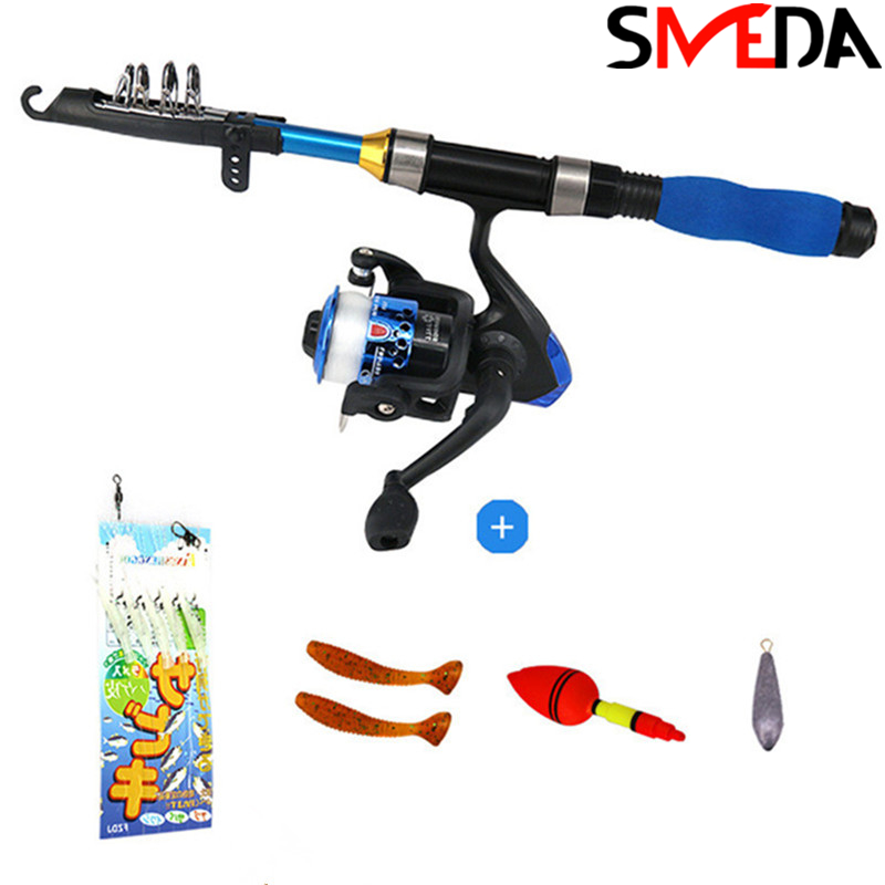 Telescopic Fishing Rod and Reel Combos Ice Full Kit Spinning Fishing Gear Organizer Pole Sets with Line Lures Hooks