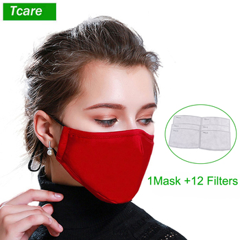 Tcare 1Pcs Fashion Cotton PM2.5 Face Mouth Mask + 12Pcs  Activated carbon filter for Men Women