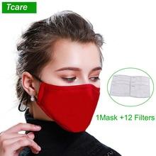 Tcare 1Pcs אופנה כותנה PM2.5 פנים פה מסכה + 12Pcs הופעל פחמן מסנן עבור גברים נשים