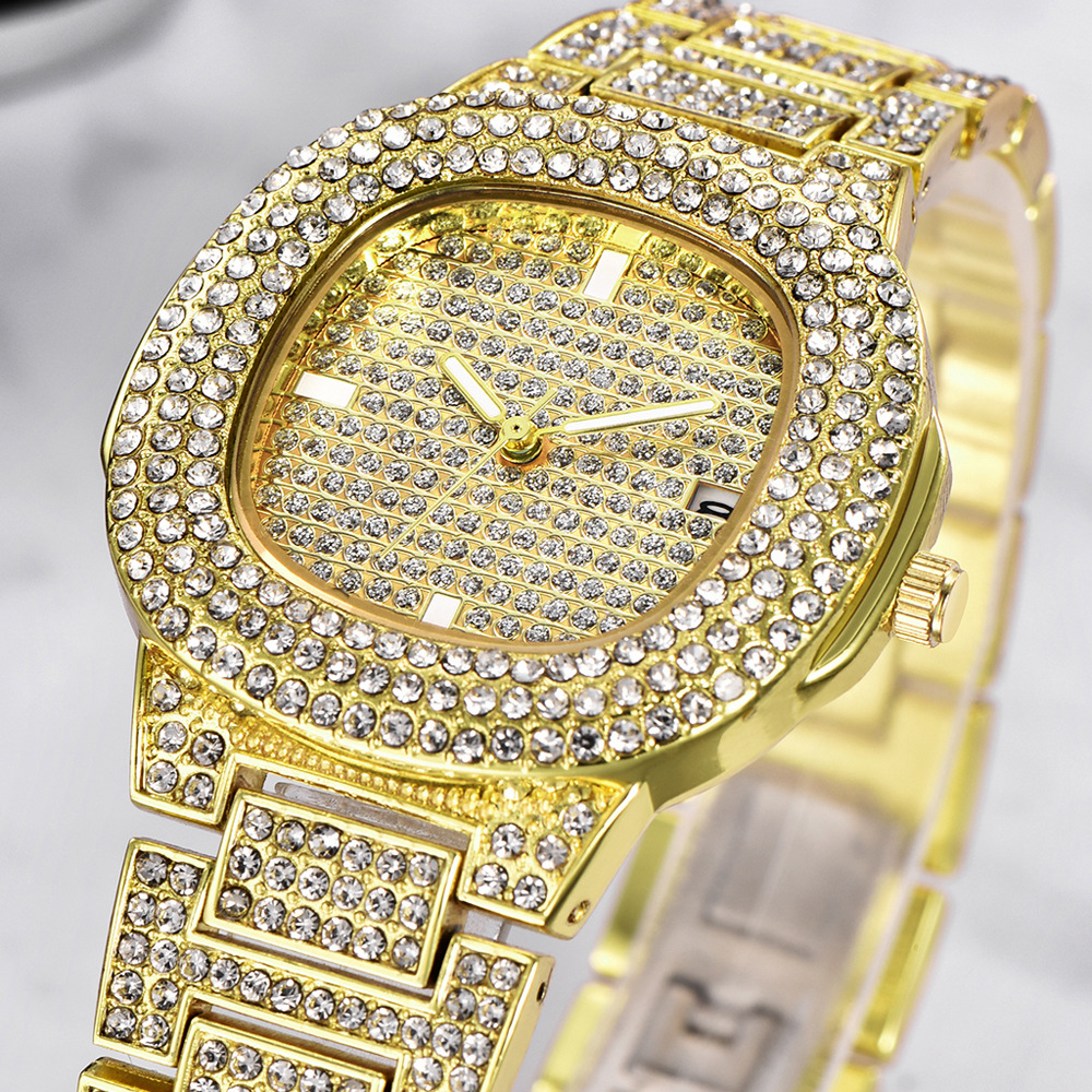 dropshipping new 2020 hip hop watches for women iced out diamonds quartz watch female clock fashion wristwatches (2)