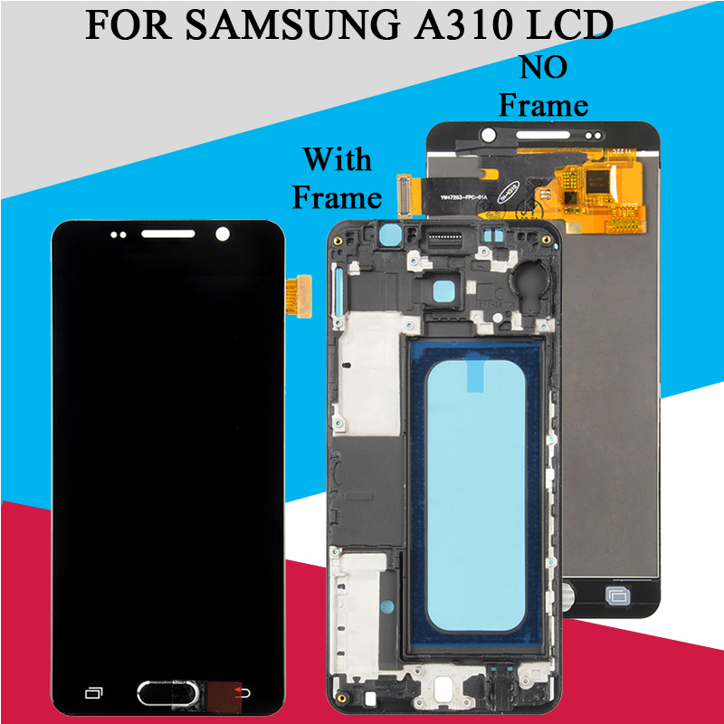Catteny <font><b>A310</b></font> <font><b>Lcd</b></font> Display Für Samsung Galaxy A3 2016 <font><b>LCD</b></font> Mit Touch Screen Digitizer Montage A310F Display Mit Rahmen image