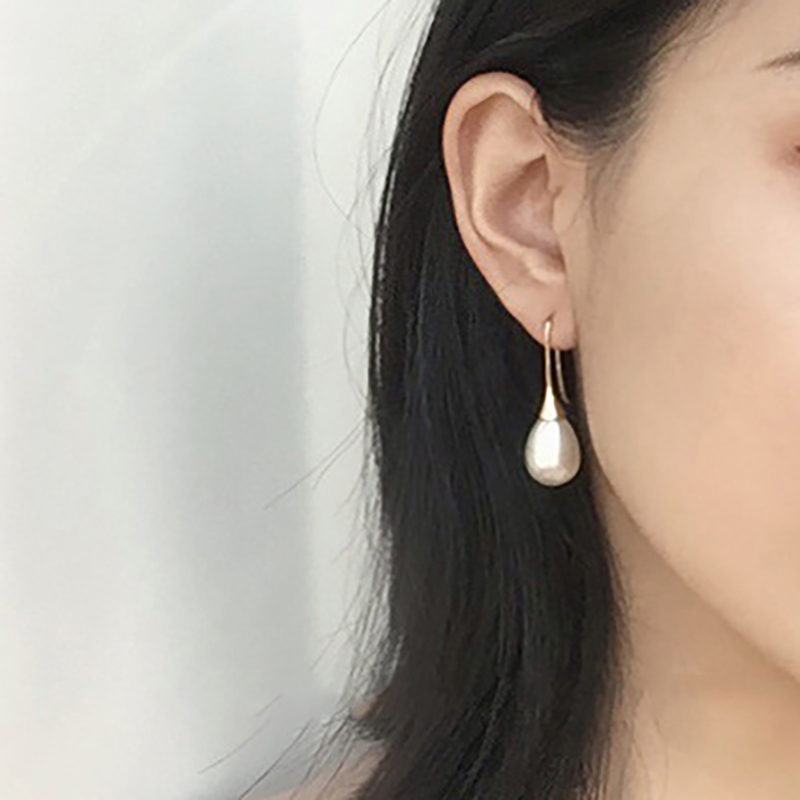 White Teardrop Simulation Pearl Earrings Dangle For Women Baroque Palace Style Jewelry Long Temperament Hook Simple Earrings in Hoop Earrings from Jewelry Accessories