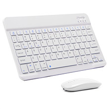 Bluetooth Keyboard and Mouse Combo Rechargeable Portable Wireless Keyboard Mouse Set for Apple iPad iPhone and Android Windows