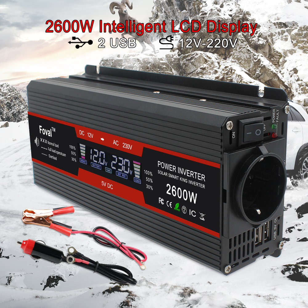 DC 12V to AC 230V  Home car outing 1500W 2000W 2600W EU socket Black LCD display  Modified Sine Wave dual doubleUSB Power Invert