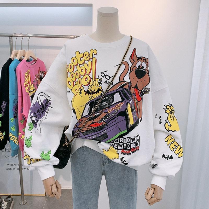 Women Hoodies Autumn 2020 Funny Cartoon Car & Dog Print Sweatshirt Oversized Streetwear Sweatshirts Hip Hop Cool Pullover Tops 4