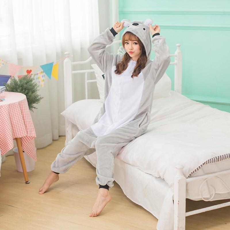 Kigurumi Pajama Koala Adult Animal Cartoon Hooded Onesie Women Men Couple 2019 Winter Pajamas Suit Sleepwear Flannel Pijamas
