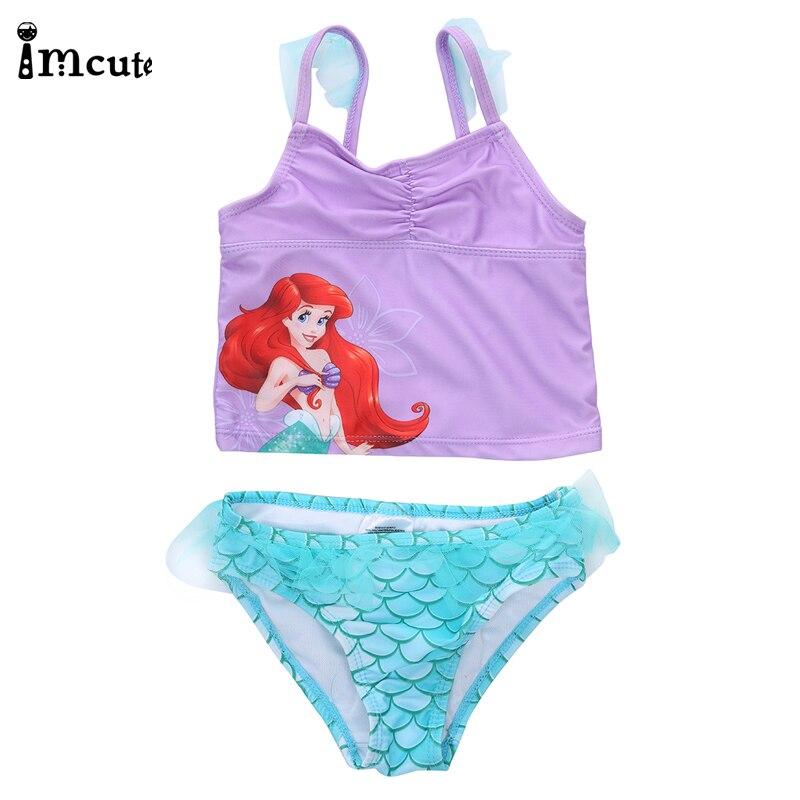 ImCute 2020 Children Brand Clothing Girls Swimming Mermaid Bikini 2PCS Sets Bathing Suit 2-6 Years Kids Purple Sequined Swimsuit
