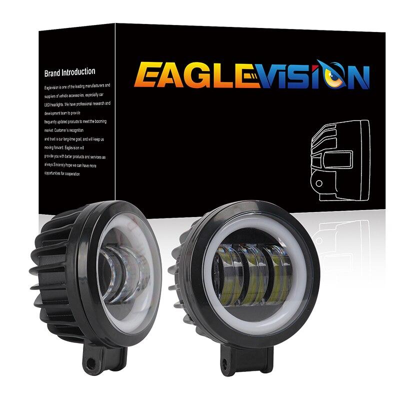 4-Inch Motorcycle Spotlights Led SUV IP67 Work Light External Square Angel Eyes Spotlights Color Temperature 6000K 5