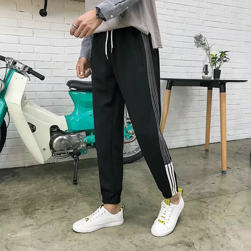 Autumn Pants Men's Korean-style Trend Versatile Students BF Style Loose-Fit 9 Points Capri Pants Ulzzang Couples Athletic Pants