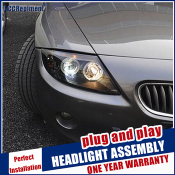 car Styling Head Lamp for Z4 E85 headlights 2003-2008 for Z4 head light LED angle eyes drl H7 hid Bi-Xenon Lens low beam