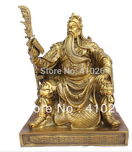 Free Shipping Chinese bronze brass Dragon Guan Gong/ Yu Reading book Statue 15cm H Gold Color(China)