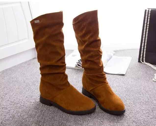 Autumn Winter Women Boots Matte Flock Boots For Female Ladies Height Increased Low Heel Shoes Lady Mid Calf High Boots plue 40