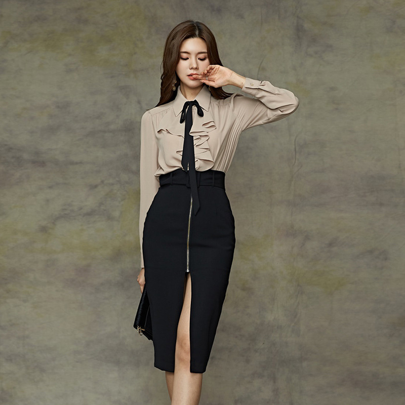 Set 2019 Autumn New Style Debutante WOMEN'S Long-sleeve Shirts + High-waisted Fashion Skirt Two-Piece Set