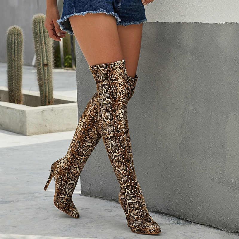 Leopar tane serpantin uzun çizmeler kadın yüksek topuk çizme sivri burun seksi kulübü ayakkabı uyluk yüksek Over-the-diz çizmeler rtg5