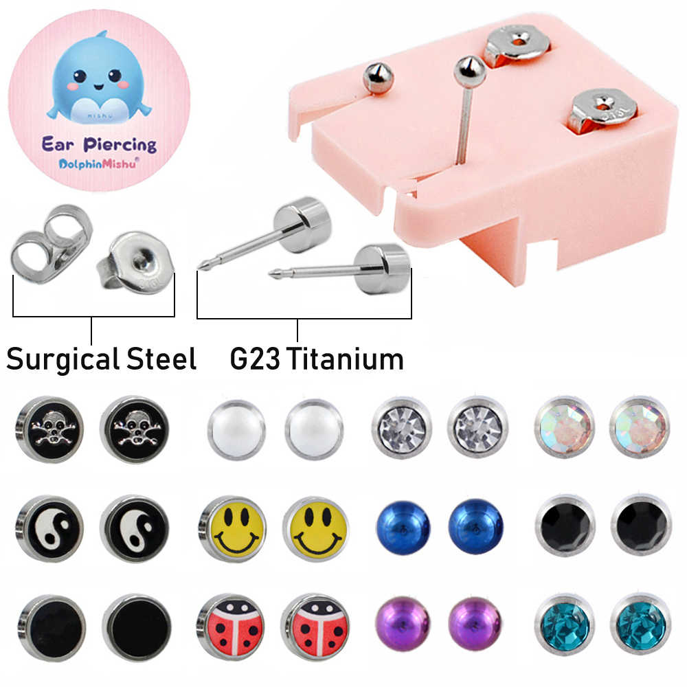 1Pair More Safe Silver G23 Titanium&Surgical Steel Ear Studs Dispossable EO Sterile Earrings Cartilage Tragus Piercing Jewelry
