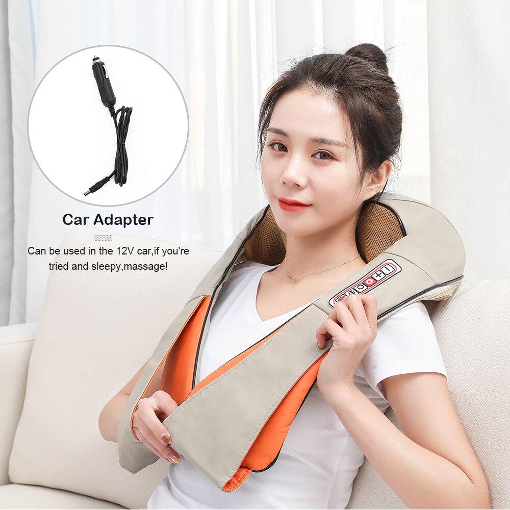 Электрический Массажер шиацу для спины и плеч, массажер для шеи, многофункциональная шаль, инфракрасный подогреваемый разминающий Автомобильный/Домашний Массажер|Массажная шаль|   | АлиЭкспресс