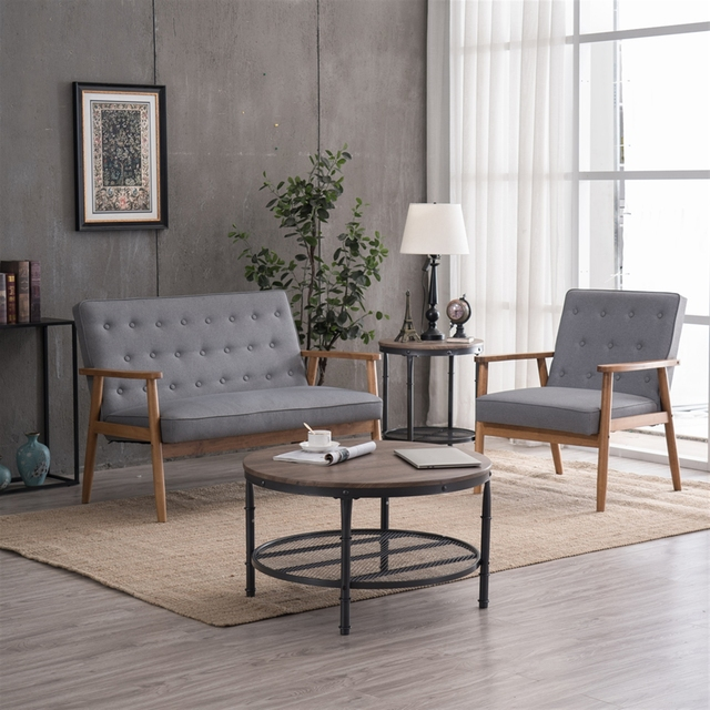 (75 x 69 x 84)cm Retro Modern Wooden Single Chair  Grey Fabric US Warehouse In Stock 4
