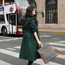 Trench Women Coat Mid-length 2019 New Autumn Loose Windbreaker Coat Green Hooded Casual Trench Coat Female Outerwear AN217