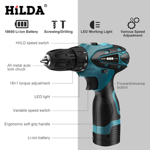 Image 4 - HILDA Electric Drill Cordless Screwdriver Lithium Battery  Mini Drill Cordless Screwdriver Power Tools Cordless Drill