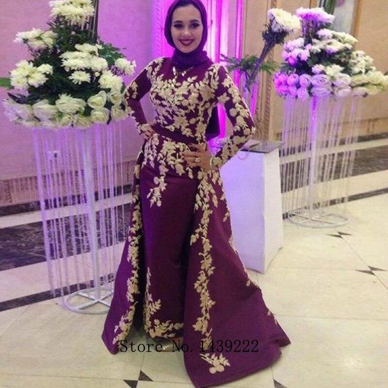 Burgundy Muslim Satin Evening Dresses Prom Appliques Detachable Train Arabic Vestidos De Fiesta De Noche Robe De Soiree Plus
