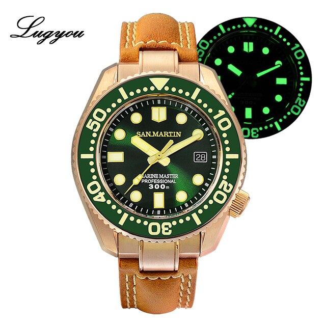 Lugyou san martin bronze mergulho relógio masculino automático moldura cerâmica 300m resistente à água pulseira de couro de safira com peça final sln
