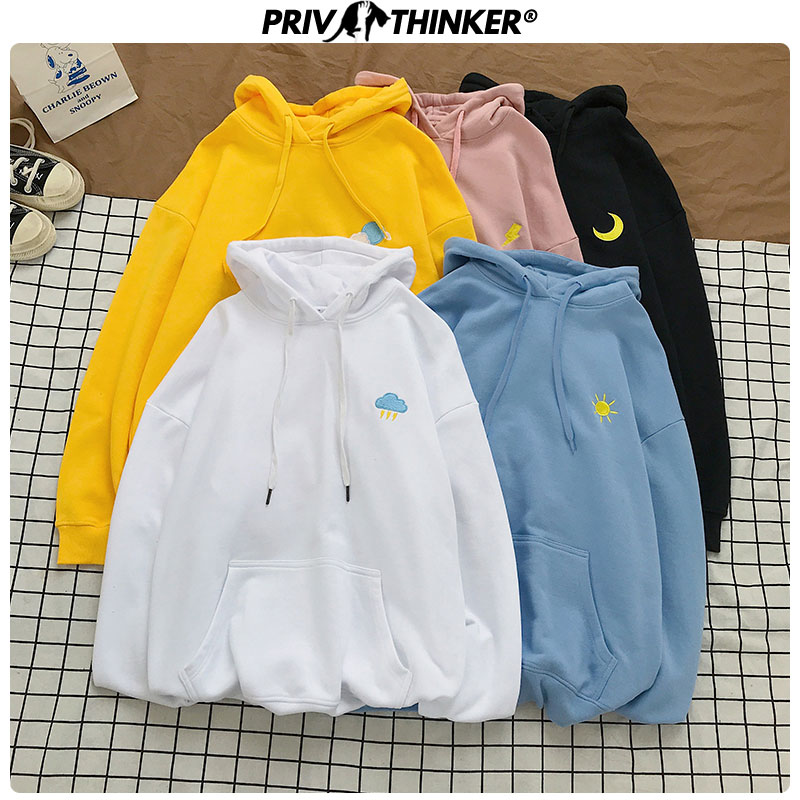 Privathinker Lady Embroidery Korean Hooded Sweatshirt 2020 Autumn Female O-Neck Hoodies Women 5XL Clothes Couple Loose Hoodie