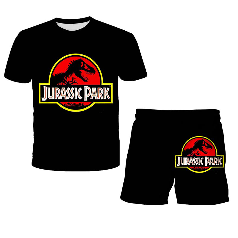 2 Pcs ClothingSets Tshirts+Shorts Jurassic Park T Shirt Kids Funny Casual Dinosaur World T-shirt Children Boy Girl ClothesTshirt
