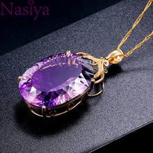 Ожерелье с подвеской с овальным кристаллом, позолоченный драгоценный камень 18 К, Цвет Аметист 36 карат, женское свадебное Ювелирное Украшени...