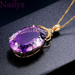 Gemstone Charm18k Gold Plated 36CT Amethyst Color Oval Crystal Pendant Necklace Lady Wedding Jewelry