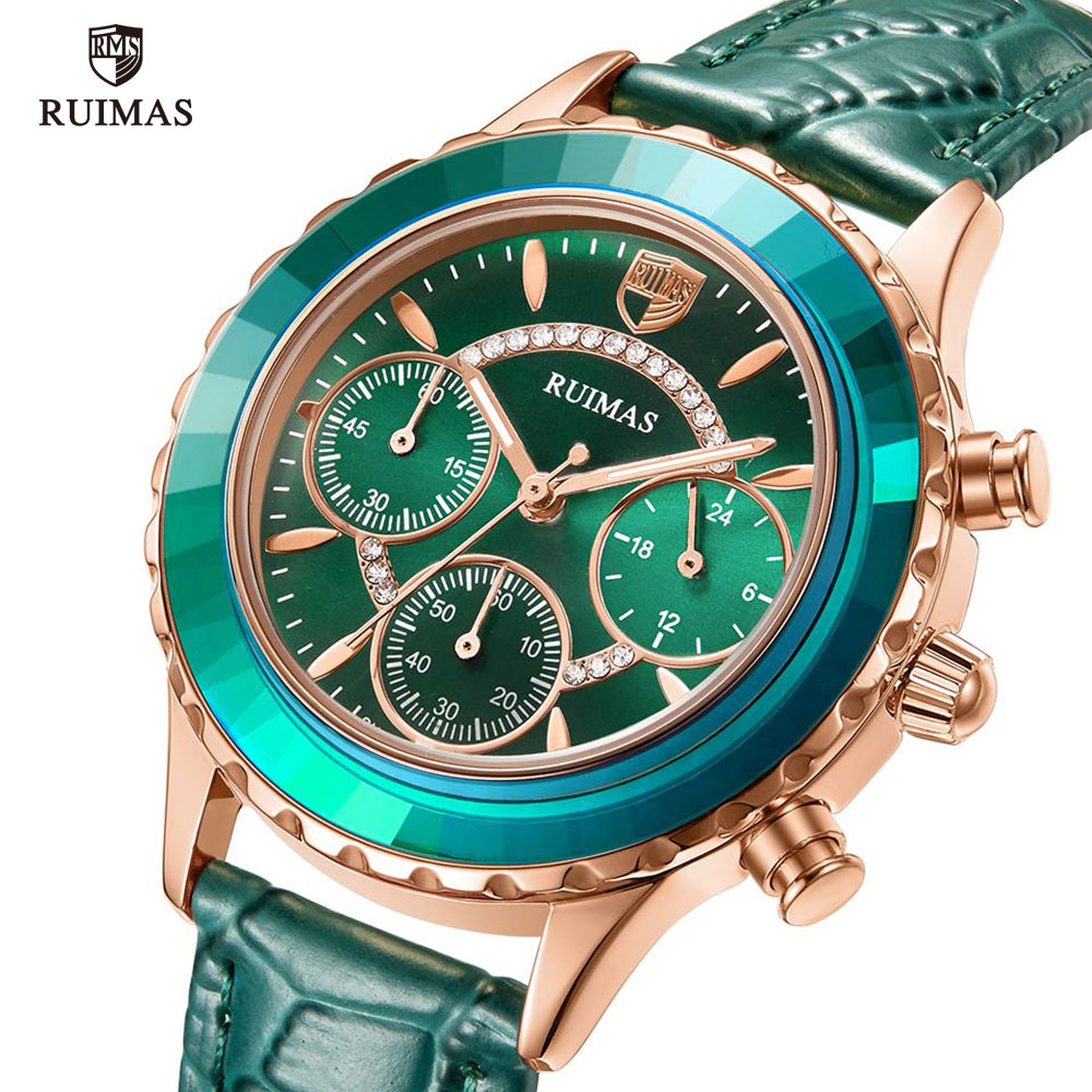 MEGIR & RUIMAS Green Leather Strap Watches Women Luxury Quartz Watch Lady Relogio Feminino Top Brand Chronograph Wrist Watches
