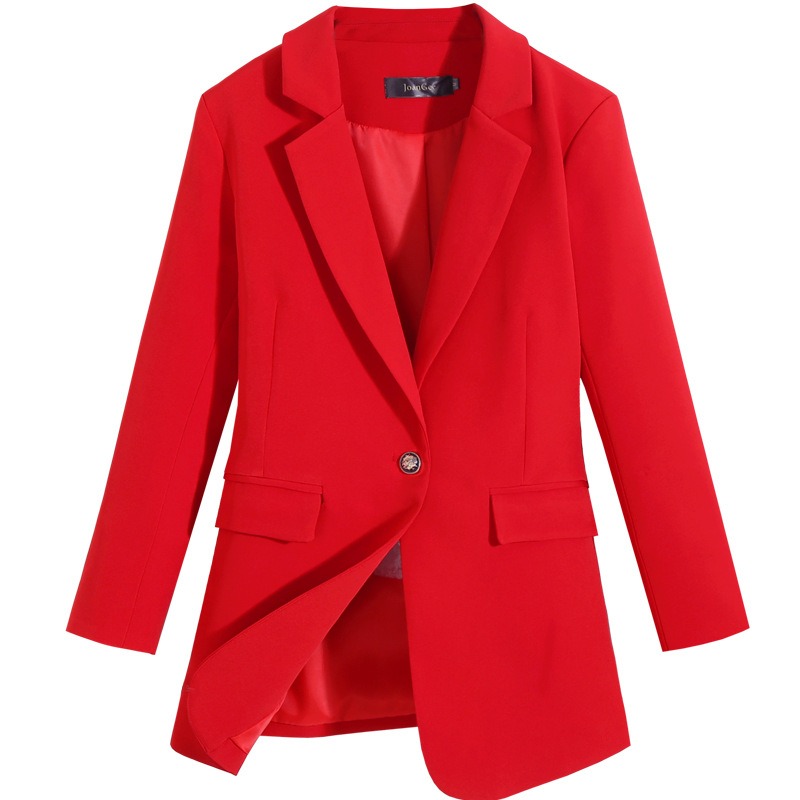 High-end women's blazer plus size M-5XL 2020 spring and autumn casual loose ladies jacket Office small suit red coat mid-length