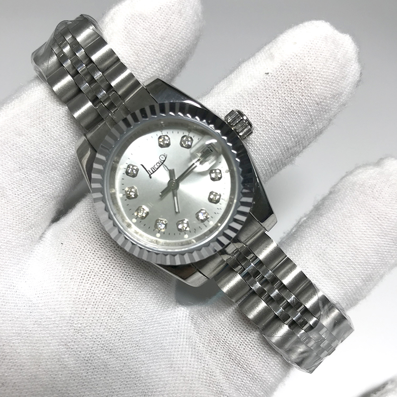 HOt Sale diamonds 28mm women size automatic movment  Fashion Luxury Womens date just Watch Stainless Steel Strap Watches