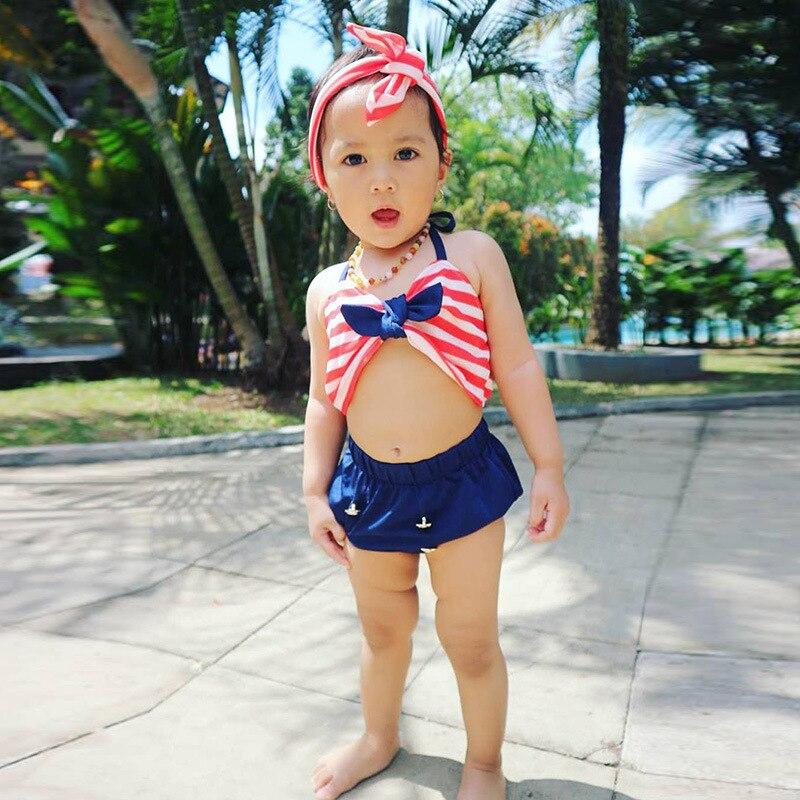 Stripes Bathing Suit GIRL'S Split Type Cute Princess Young Children Baby Children Infant Chinlon Bikini GIRL'S Swimming Suit