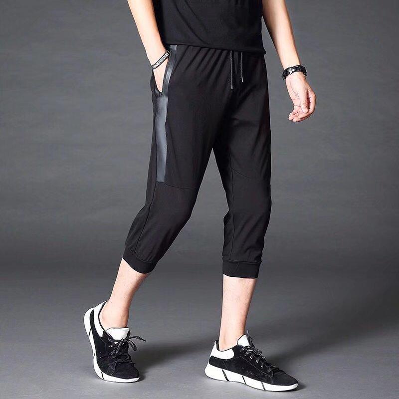 Sports Capri Pants Men's Summer New Style Skinny Korean-style Knit Pants Casual Shorts Men Beam Leg Closing Capris