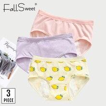 FallSweet 3 pcs/lot! Women Period Panties Cotton Cute Leak proof Underwear Low Waist Health M L XL Briefs