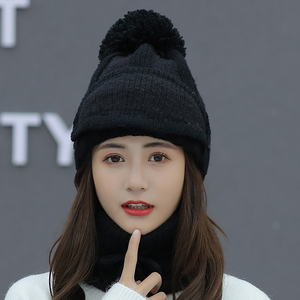 Image 2 - womens hat ladies autumn and winter knit hat wild youth ear protection winter warm plus velvet thick bike wool hat female
