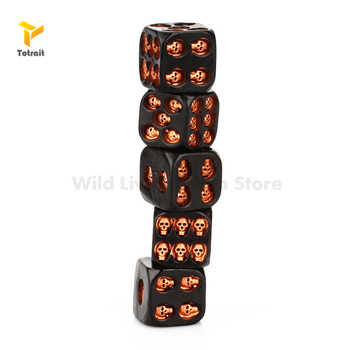 5pcs Black Gold Skull Dice Grinning Skull Deluxe Devil Poker Dice Play Game Dice Tower with Death Table Pub Bar Party Game Tools solid polished brass dice 20mm metal cube copper poker bar board game gift 1pc