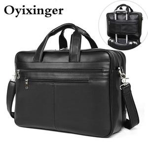 "Image 2 - Large Capacity Black Men Business Computer Briefcase Soft Genuine Leather 17"" Laptop Handbag Male Cowhide For Macbook Pro Air 17"