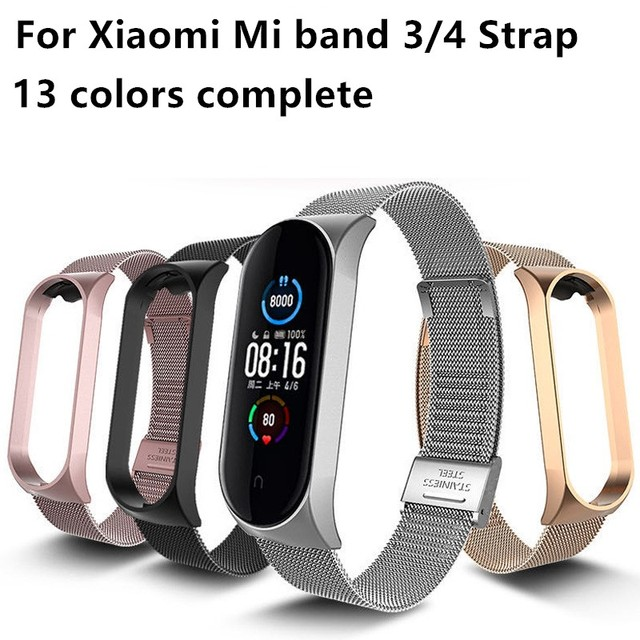 For Mi Band 4 3 5 Wrist Strap Metal Screwless Stainless Steel For Xiaomi Mi Band 5 4 3 Strap Bracelet Miband Wristbands Pulseira