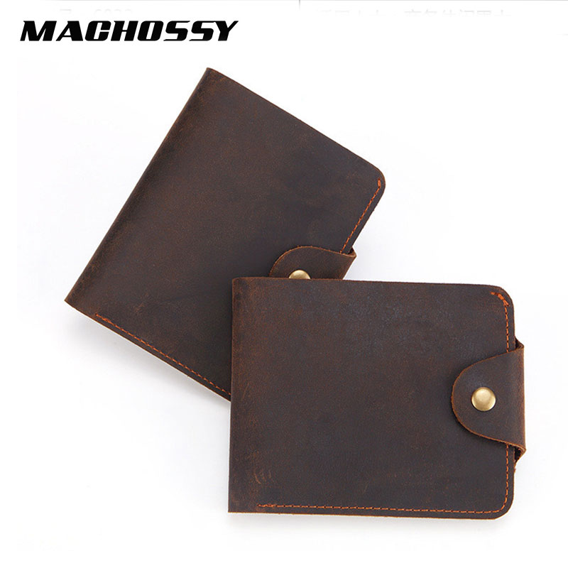 New Crazy Horse Genuine Leather Men Wallets Quality Male Small Card Holder Vintage Wallets Real Skin Hasp Purse Simple Style