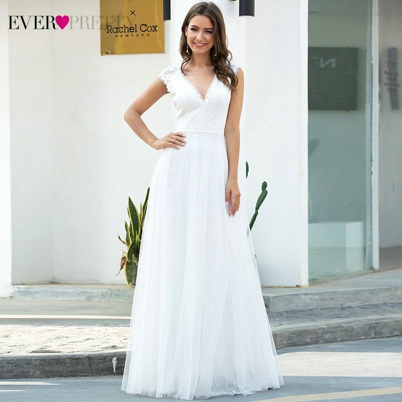 White Lace Wedding Dresses Ever Pretty EP00657CR A-Line Ruched V-Neck Cap Sleeve Elegant Formal Bride Gowns Vestido De Noiva