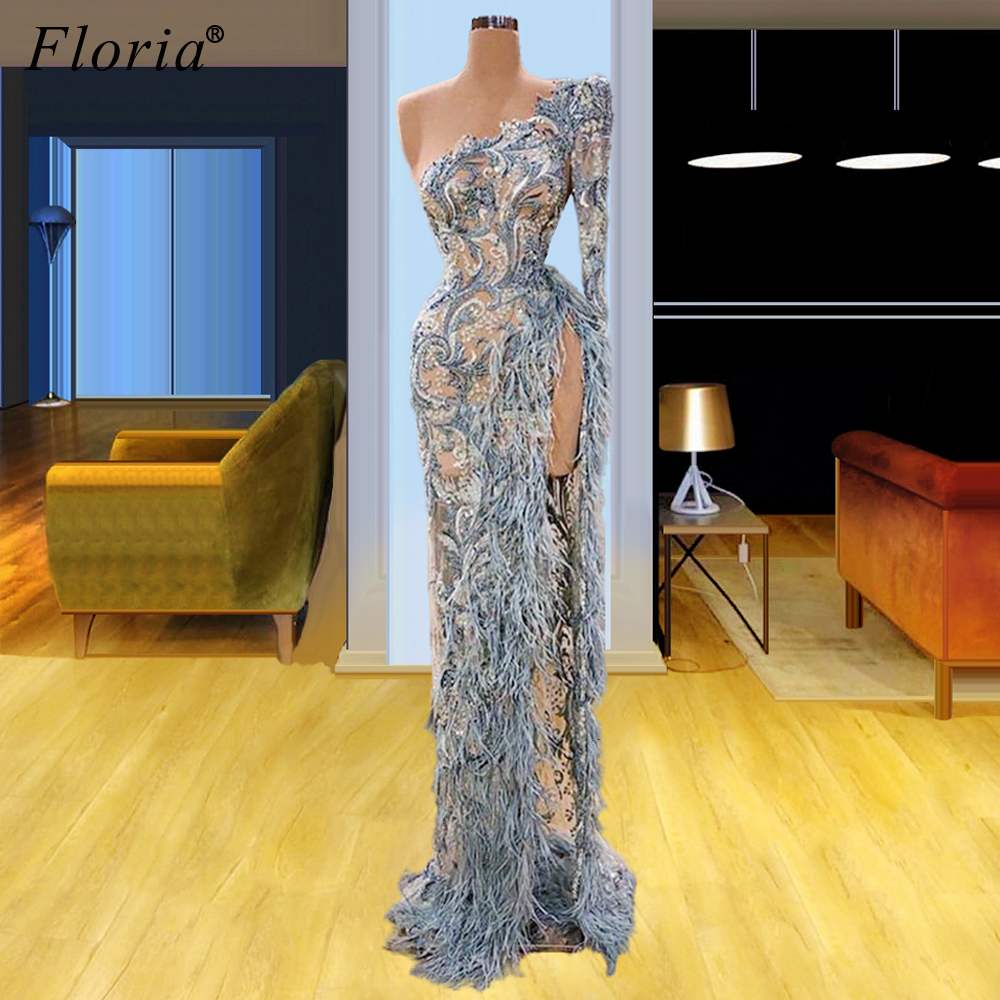 Muslim One Shoulder Evening Dresses 2020 Long Special Lace Prom Dresses Evening Wear Women Celebrity Dresses Party Vestidos Robe