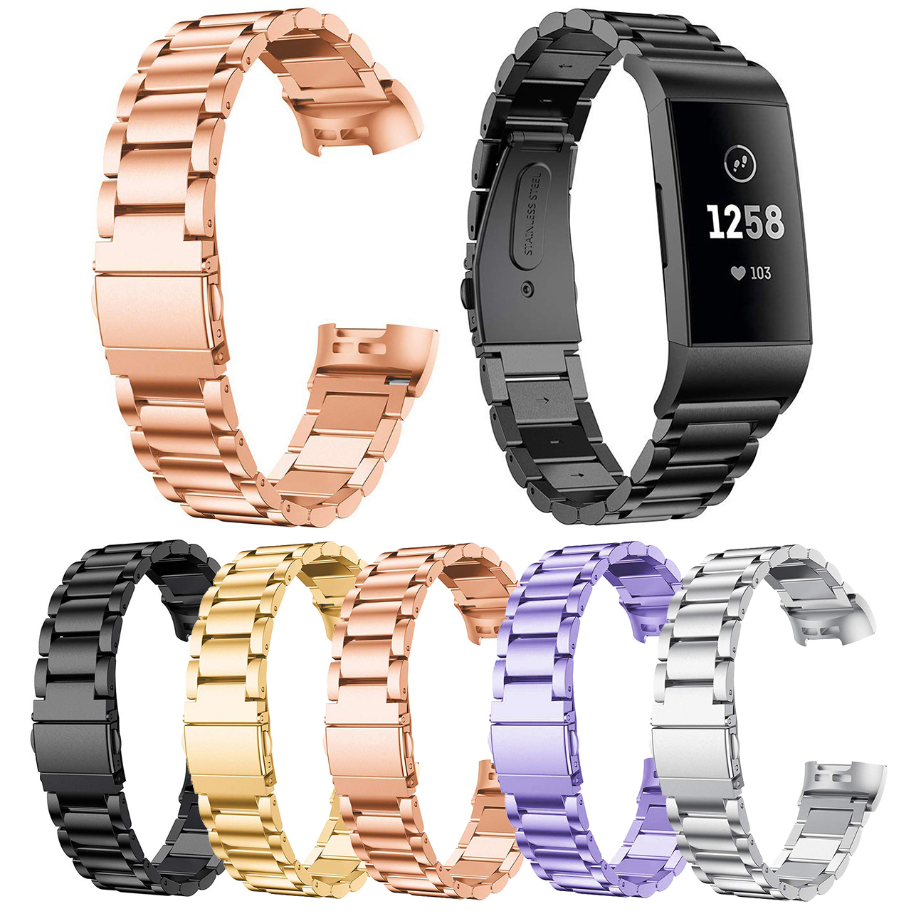 Essidi Stainless Steel Bracelet Strap For Fitbit Charge 3 4 Smart Wristband Loop Replacement For Charge 3 4 Metal Band Strap